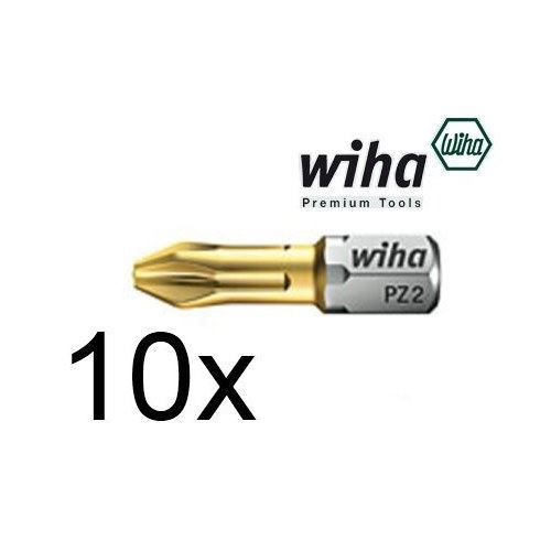"10 x Wiha PZ2 Titanium Pozi 2 Screwdriver Bit 25mm long 1/4"" Hex TIN Pozidriv"